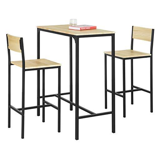 SoBuy OGT03-L-N Set Mesa Alta de Bar y 2 taburetes Mesa de Comedor con Respaldos de Estilo Industrial ES