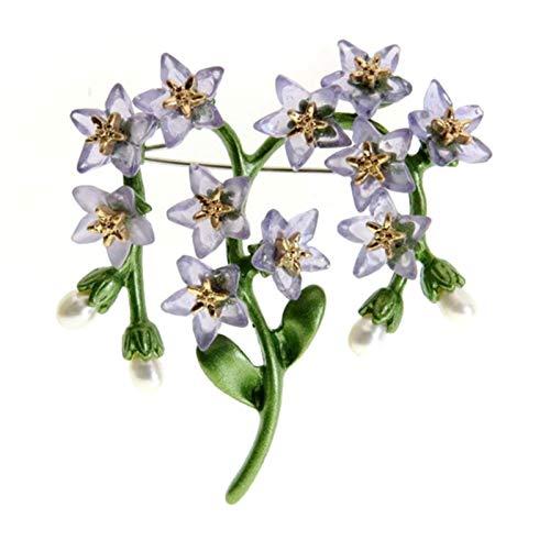 WanXingY Vintage Planta Joyería Broche Bufanda Bufla Accesorios Imitación Pearl Olviden-Me-No Planta Hoja Flor Broche (Color : Purple)
