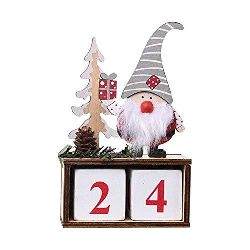 Fgolphd Calendario de Navidad Tela Adviento Cuenta atrás Santa Claus Calendario decoración de Navidad en casa del árbol de Navidad 2020 (Color : B)