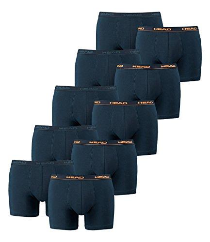 10 x Packung Head Herren-Boxershorts mit elastischem Bund, Konfektionsgröße: L, Farben: 493 - Peacoat/Orange
