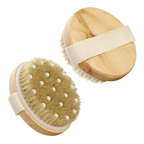 Dry / Wet Body Brush with Massage Nodules by ROMER - Natural Bristle...