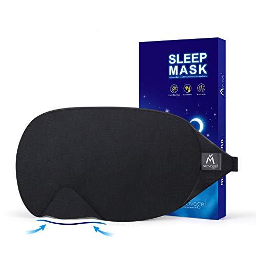 Mavogel Cotton Sleep Eye Mask - Updated Design Light Blocking Sleep Mask, Soft and Comfortable Night Eye Mask for Men Women, Eye Blinder for Travel/Sleeping/Shift Work, Includes Travel Pouch, Black