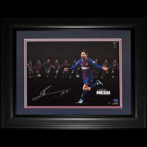 Authentic Autographed Lionel Messi FC Barcelona Soccer (10x La Liga Winner Montage) Deluxe Framed 12X16 Photo ~ Icons COA