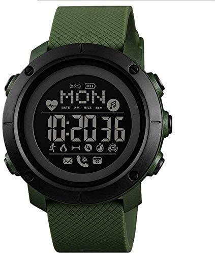 GANG Fitness Tracker Sports Smart Watch con Brújula, Impermeable Cara Grande Exhibir Reloj Digital con Podómetro, Calorie, Monitor de Ritmo Cardíaco Sport Fitness Tracker Moda/Gre