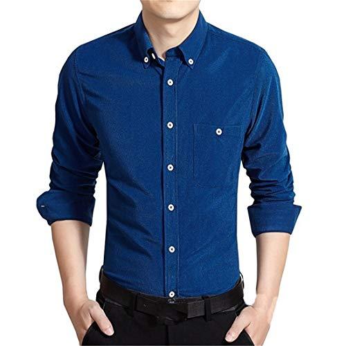 Hemd Herren Business Shirt Herren Slim Fit Mode Casual Button Langarm Hochzeitsfeier Arbeit Basic Style Frühling Und Herbst Classic Herren Top D-Dark Blue 3XL