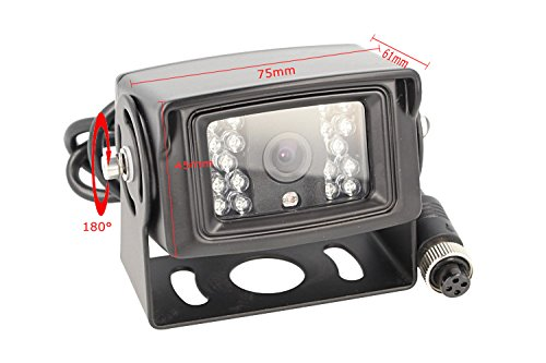CARALL KR5000 Telecamera Retromarcia 4 Pin Orientabile Notturno 12V Camion Furgone Lungo Camper Tir Con 18 Led IP67