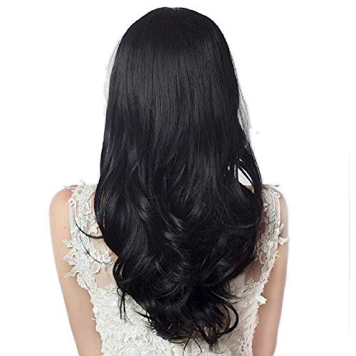 TANTAKO/® Perruque Noir Blanc-Half Black Half White Wig Long Wavy Hair with Bangs Cute Halloween Cosplay Costumes Wig