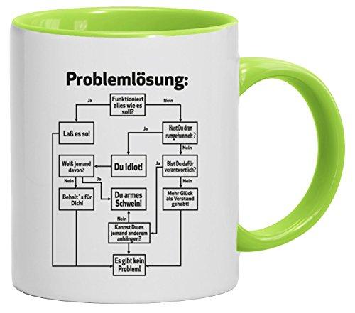 Lustige Geschenkidee Bürohumor Büro Kaffeetasse 2-farbige Tasse Problemlösung, Größe: onesize,weiß/hellgrün