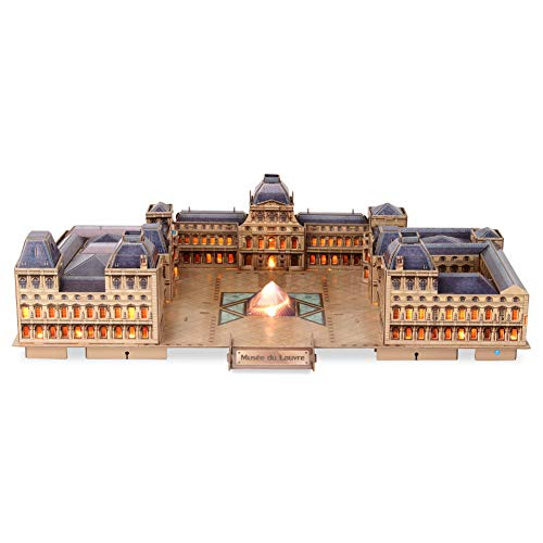 CubicFun 3D Paris Puzzles LED Architecture Building Model Kits for Adults and Kids, Birthday Gifts for Women and Men, Home Decoration at Night the Louvre 137 Pieces