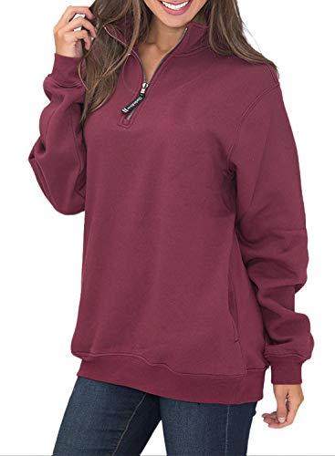 1/4 Zip Sweatshirt Women Fleece Pullover Women Sweatshirts Pockets Long Sleeve Oversized Burgundy S 4 6