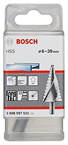 Bosch Professional Stufenbohrer HSS (für dünne Materialien z.B. Stahlblech, Ø 6-39 mm, mit 12 Stufen)