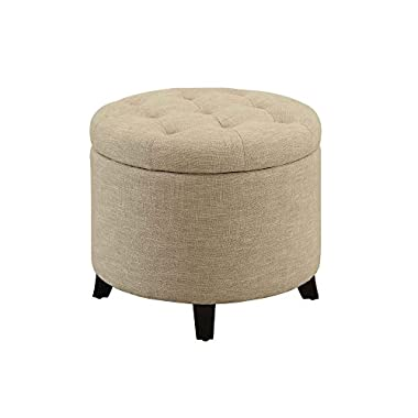 Convenience Concepts Designs4Comfort Round Ottoman, Tan