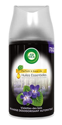 Air Wick Désodorisant Maison Recharge pour Diffuseur Automatique Freshmatic Huiles Essentielles Violettes des Bois 250 ml