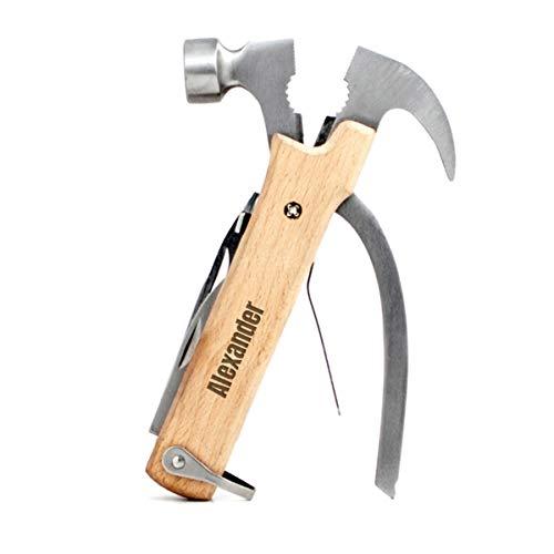 Geschenkidee.de Hammer Multitool mit Gravur - Multifunktionswerkzeug aus rostfreiem, Edel-Stahl mit Holzgriff und personalisierbarer Wunsch-Text - 10in1 Werkzeug, aus Buchenholz