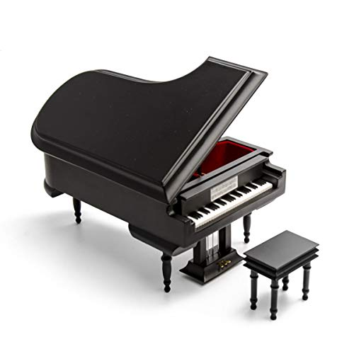 Sophisticated 18 Note Miniature Musical Matte Black Grand Piano with Bench - Many Songs to Choose - How Great Thou Art