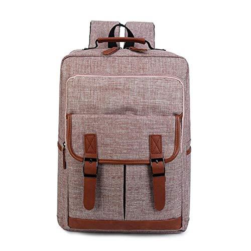 Backpack IBHT 16inch Canvas Leather Oxford Laptop Travel Backpack Satchel Rucksack Student School Bag Men Women Khaki