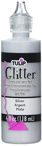 Tulip Glitter Pintura de tela dimensional, Plata, 118 ml