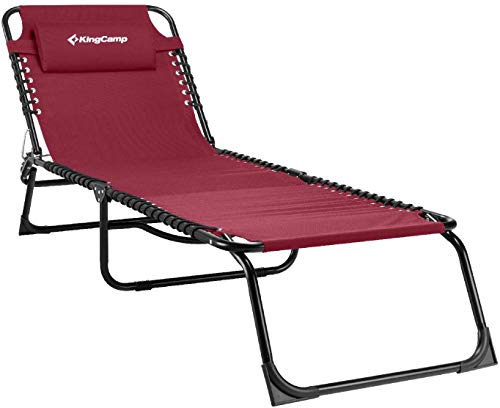 KingCamp Chaise Lounge Removable Pillow 3-Position Adjustable Chair Folding Patio Recliner for Camping Pool Beach Outdoor, Supports 300lbs, Red