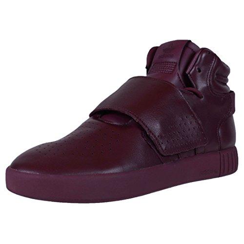 adidas Zapatillas de baloncesto de cuero para hombre, con correa de invasor, color granate/caña alta, 12 m