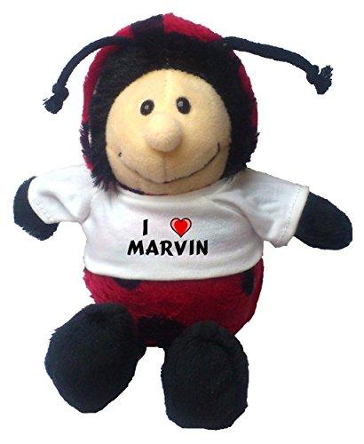 Personalisierter Marienkäfer Plüschtier mit T-shirt mit Aufschrift Ich liebe Marvin (Vorname/Zuname/Spitzname)