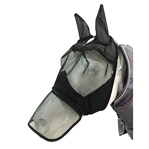 Alfie Pet - Levi Horse Fly Mask with Ears and Long Nose Cover - Size: Medium
