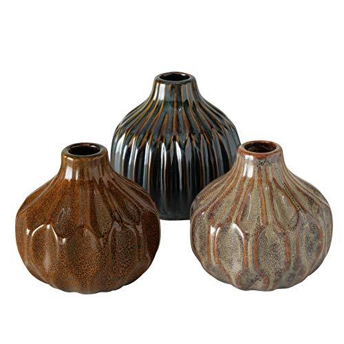 CasaJame 3 Deko Struktur Porzellan Vasen Sortiert H11cm D10cm braun grau