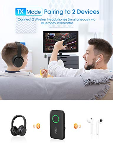 Mpow Bluetooth 5.0 Transmitter Receiver, Bluetooth Adapter with aptX Low Latency, aptX HD, Built-In Microphone, cVc 8.0 Noise-Cancelling, Bluetooth Transmitter for TV/Car Sound System