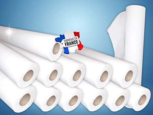 Dstock60 – Sábanas de examen – Cartón de 12 rollos – 50 x 38-100 formatos – Pura guata – 2 x 18 gramos – Fabricación francesa – Higiene – Médico – Cuidado –