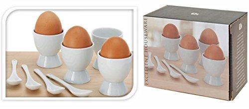 Eierbecher Keramik Weiß mit Löffel 4 Stück