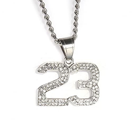 WYHCJJ Colgante Collar joyería Collares para Hombre Hip Hop Collar de Diamantes de imitación Jordan Titanio Acero Colgante Digital Joyas Regalo de cumpleaños de Navidad