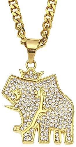 NC198 Colgante, Collar, joyería, Marca de Marea, Hip Hop, Acero Inoxidable, vacío, Chapado en Oro, Corona de Diamantes, Regalo de Elefante