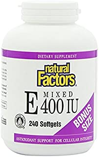 Natural Factors, Mixed Vitamin E 400 IU, Antioxidant Support for Cardiovascular and General Health, 240 softgels (240 serv...