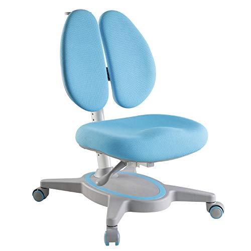HOKO® Ergo Study Kid Kinder Schreibtisch Stuhl Blau. Höhenverstellbarer, mitwachsender Kinder Stuhl mit 5 Rollen. Sitz und Rücken separat verstellbar. Ergonomisches Sitzen für Kinder!