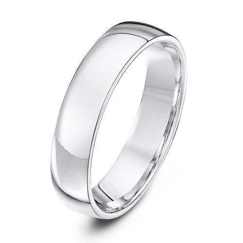 Theia Unisex Heavy Court Shape Polished 9 ct White Gold 5 mm Wedding Ring - Size O