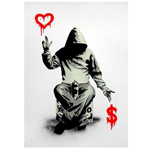 """Print on Canvas Banksy Street Graffiti Printable Painting Boy Love Money Wall Art Posters and Prints Wall Pictures for Bedroom 27.5""""x 39.4""""(70x100cm) No Frame"""