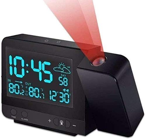 Projection Alarm Clock, Digital Projection Clock with Weather Station, Indoor/Outdoor Thermometer, USB Charger, Dual Alarm Clocks for Bedrooms, LED Display with Dimmer, 12/24 Hours