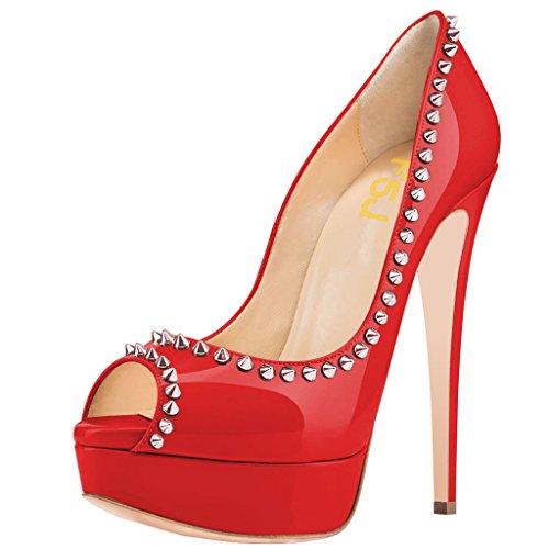 [FSJ] レディースシックスタッズピープトウプラットフォームハイヒールパンプスでリベットドレス靴サイズ4–15US カラー: レッド