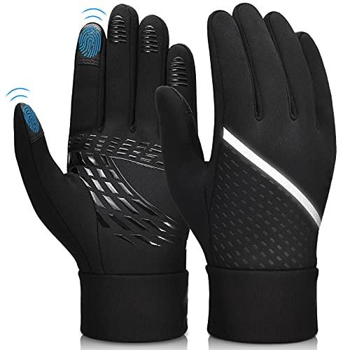 Guanti Uomo Touch Screen Invernali - Running Ciclismo Caldo Donna Addensare Anti-neve Antiscivolo Full-finger Nero Unsex Gloves per Outdoor Sport Trekking Bici Moto Mtb lavoro Corsa Sci XS/S/M/L/XL