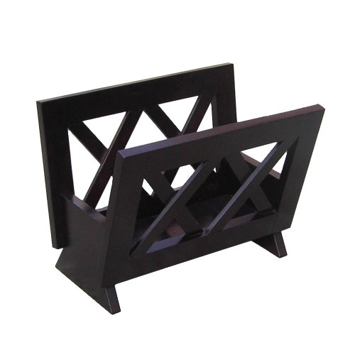 Oceanstar Contemporary Solid Wood Magazine Rack, Mahogany Finish