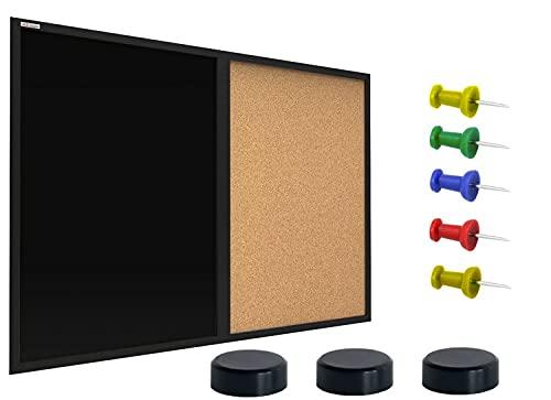 ALLboards Kombitafel 2 in 1 Schwarze Magnetische Kreidetafel & Kork-Pinnwand mit MDF Schwarz Rahmen 60x40cm, Korktafel Magnetische Kreidetafel Memoboard + 3 Magnete und 5 Pinnadeln im Lieferumfang