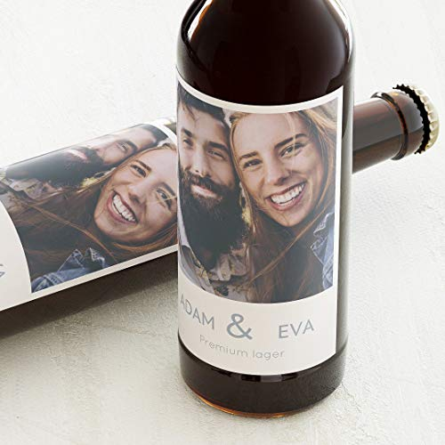 sendmoments Klebeetiketten, Unser schönster Tag, Aufkleber, Bieretiketten, selbstklebend, personalisiert mit Text & Foto zur Hochzeit, Label für Flaschen, als Geschenk, Hochformat, ab 10 Stück