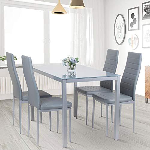 Mesa de comedor y sillas, juego de 4 sillas de respaldo alto...