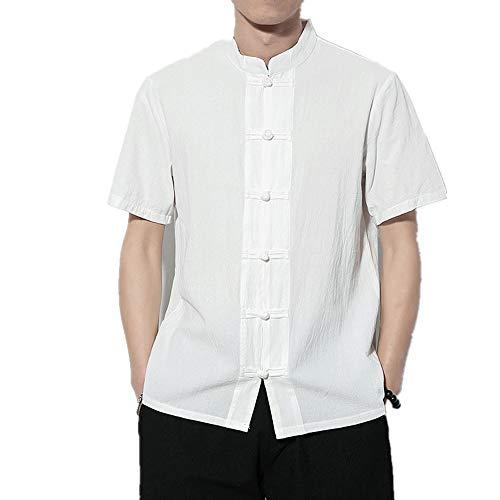 NOBRAND Camisa de manga corta de algodón y lino para hombre, con cierre de hebilla, manga media