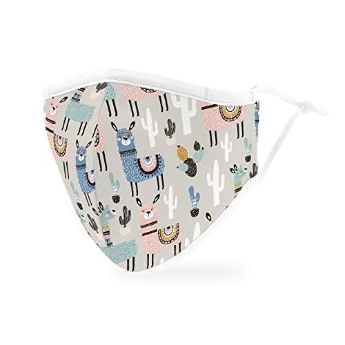 Weddingstar waschbare, Mundschutzmasken aus Stoff. Wiederverwendbar und verstellbar mit Staubfiltertasche - Lama
