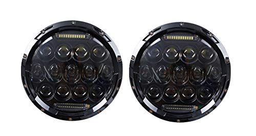 ANR Black 7 Inch 75W Round LED Projector Headlight Waterproof Bulb for Harley Davidson Motorcycle & Jeep Wrangler LED Headlamp Set of 2 … (Black)