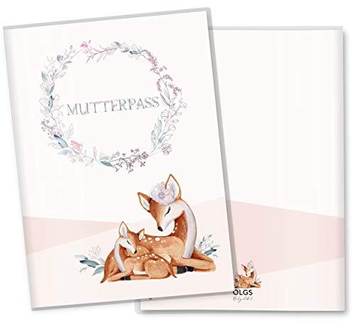 Mutterpasshülle 3-teilig Rehkitz schöne Geschenkidee zur Schwangerschaft Schutzhülle (Mutterpass ohne Personalisierung, Stella)
