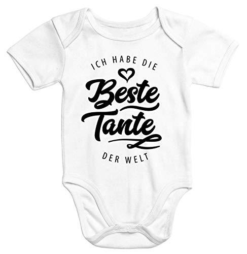 MoonWorks® Kurzarm Baby Body Ich Habe die Beste Tante der Welt Spruch Geschenk Bio-Baumwolle weiß 0-3 Monate