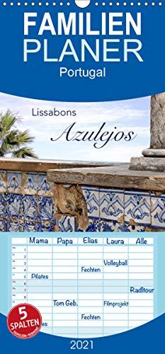 Lissabons Azulejos - Familienplaner hoch (Wandkalender 2021, 21 cm x 45 cm, hoch)