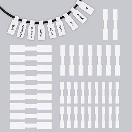 90 Stück Selbstklebende Kabeletiketten Drahtetiketten EVA-Schaum Wasserdicht Schnur-Etiketten Kabel-Tags für Elektronik Computer Kabelmanagement und Identifikation (weiß)