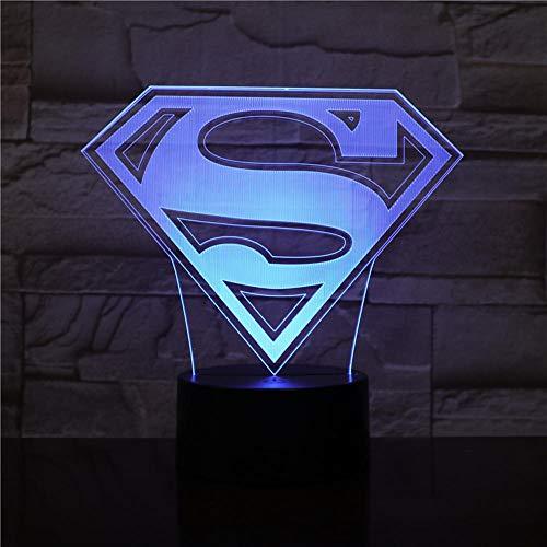 DC Gerechtigkeit Liga Superman Batman Logo Usb 3d LED Nachtlicht,Cartoon Superheld Jungen Kinder Geburtstag Geschenke Tischlampe Nachttisch